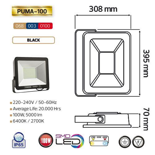 PUMA-100 - 100W Schwarz 6400K LED Projektor Fluter Strahler
