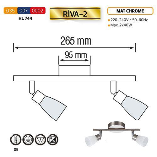 HL744 2X40W MATT-CHROMM/WEISS G9 220-240V DECKENLEUCHTE