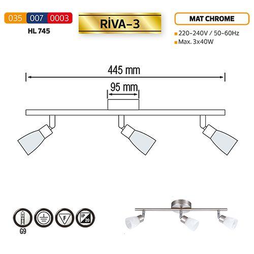 HL745 3X40W MATT-CHROMM/WEISS G9 220-240V DECKENLEUCHTE