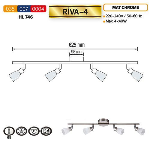 HL746 4X40W MATT-CHROMM/WEISS G9 220-240V DECKENLEUCHTE