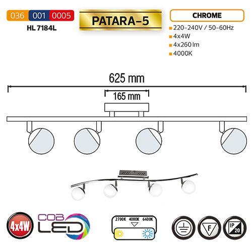 HL7184L 4X4W CHROM 3000K 220-240V COB LED DECKENLEUCHTE