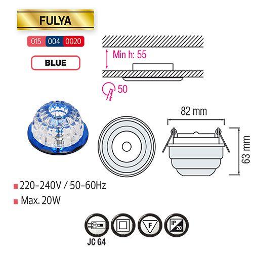 FULYA Blau G4 Kristall Halogen Einbaulampe Einbau Spot