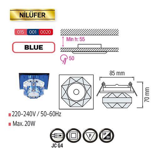 NILÜFER Blau G4 Kristall Halogen Einbaulampe Einbau Spot