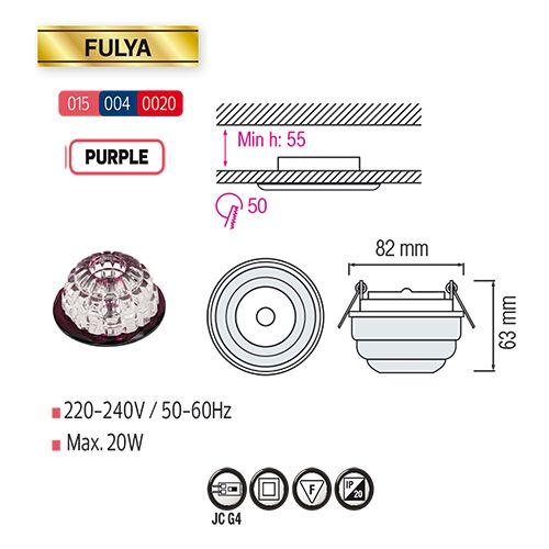 FULYA Lila G4 Kristall Halogen Einbaulampe Einbau Spot