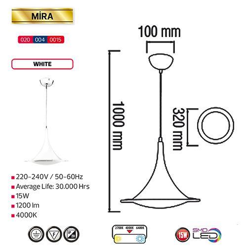 MIRA 15W Weiss 4000K LED Pendelleuchte Pendellampe