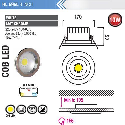 HL696L 10W 4ZOLL MATT-CHROM 4200K COB LED EINBAUSPOT
