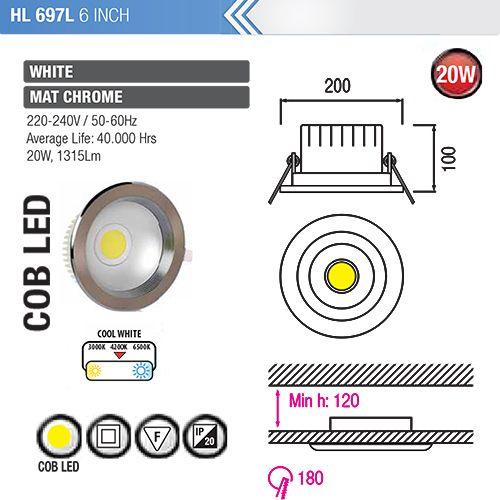 HL697L 20W 6ZOLL MATT-CHROM 4200K COB LED EINBAUSPOT