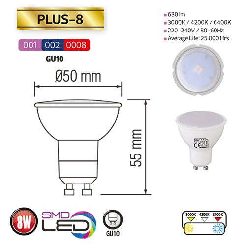 PLUS-8 8W GU10 LED Leuchtmittel 6400K , kaltweiss