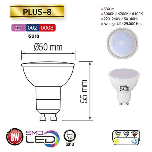 PLUS-8 8W GU10 LED Leuchtmittel 4200K  , tageslicht