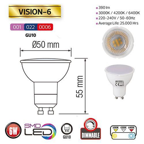 VISION-6 6W 3000K GU10 DIM LED Leuchtmittel
