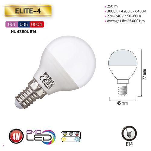 LED Miniglobe 3,5W E14 6400K Kaltweiss HL4380