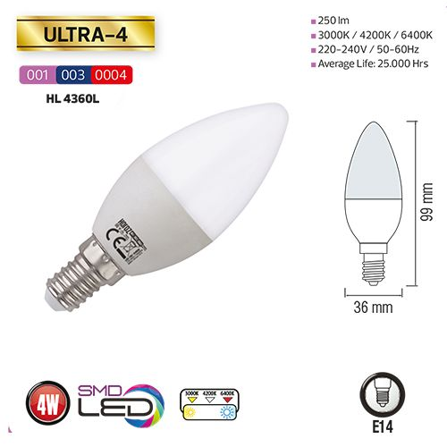 LED Kerzenform 3,5W E14 6400K Kaltweiss HL4360