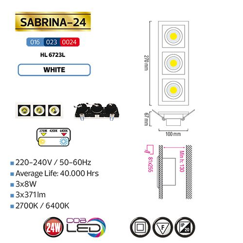 Sabrina-24 HL6723L 3X8W 6400K KALTWEISS 220-240V COB LED EINBAUSPOT