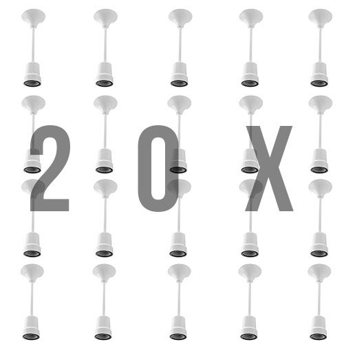 20x Baustellenfassung Lampenfassung Kunststoff E27