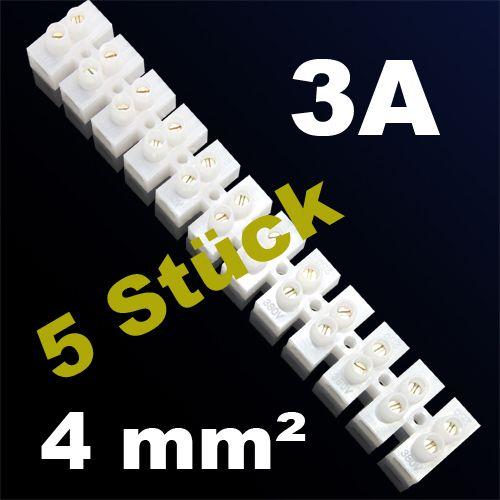 5er Pack LÜSTERKLEMME VERBINDUNGSKLEMME SCHRAUBKLEMME KLEMME 3A 4mm²