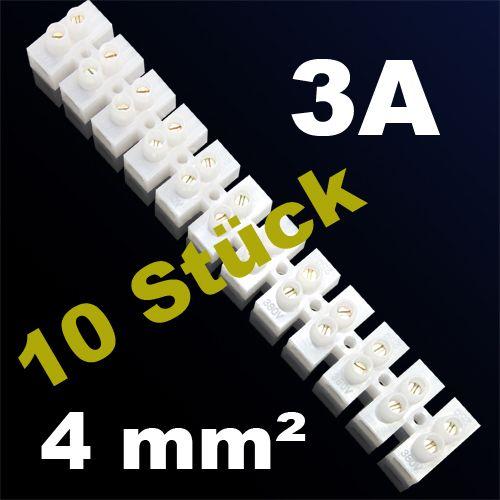 10er Pack LÜSTERKLEMME VERBINDUNGSKLEMME SCHRAUBKLEMME KLEMME 3A 4mm²