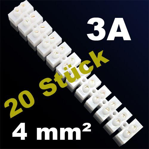 20er Pack LÜSTERKLEMME VERBINDUNGSKLEMME SCHRAUBKLEMME KLEMME 3A 4mm²