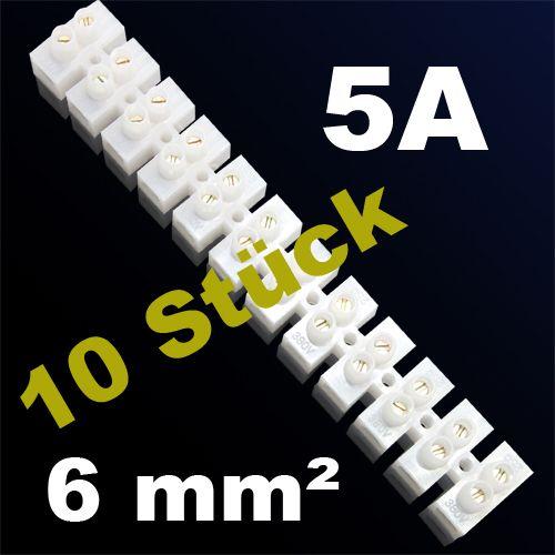 10er Pack LÜSTERKLEMME VERBINDUNGSKLEMME SCHRAUBKLEMME KLEMME 5A 6mm²