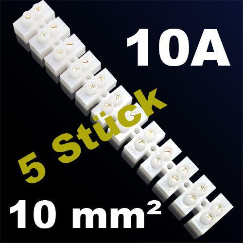 5er Pack LÜSTERKLEMME VERBINDUNGSKLEMME SCHRAUBKLEMME KLEMME 10A 10mm²