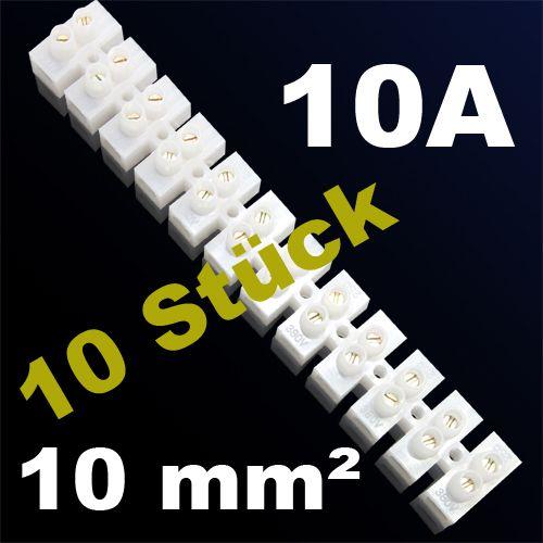 10er Pack LÜSTERKLEMME VERBINDUNGSKLEMME SCHRAUBKLEMME KLEMME 10A 10mm²
