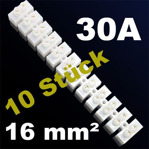 10er Pack LÜSTERKLEMME VERBINDUNGSKLEMME SCHRAUBKLEMME KLEMME 30A 16mm²