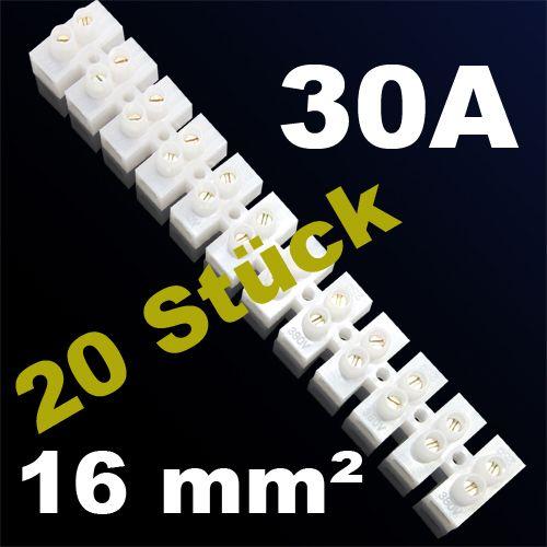 20er Pack LÜSTERKLEMME VERBINDUNGSKLEMME SCHRAUBKLEMME KLEMME 30A 16mm²