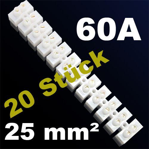 20er Pack LÜSTERKLEMME VERBINDUNGSKLEMME SCHRAUBKLEMME KLEMME 60A 25mm²