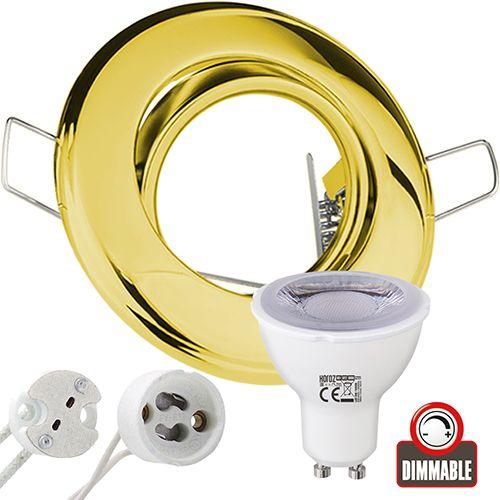 EINBAUSTRAHLER GOLDFARBIG SCHWENKBAR MIT 6 Watt LED Leuchtmittel GU10 Dimmbar