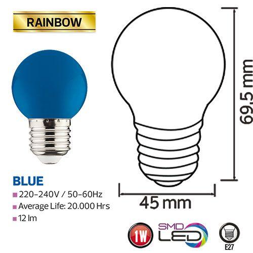 RAINBOW 1W Blau E27 LED Farbige Leuchtmittel