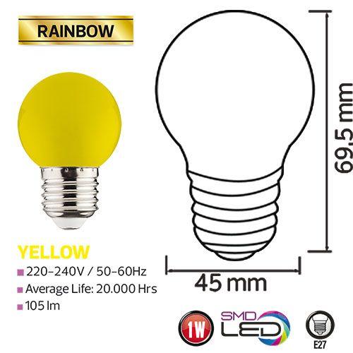 RAINBOW 1W Gelb E27 LED Farbige Leuchtmittel