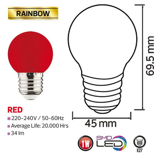 RAINBOW 1W Rot E27 LED Farbige Leuchtmittel