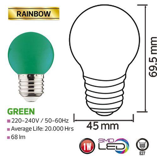 RAINBOW 1W Grün E27 LED Farbige Leuchtmittel