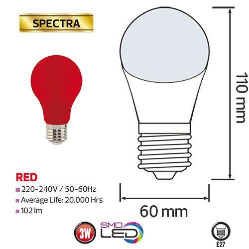 SPECTRA 3W Rot E27 LED Farbige Leuchtmittel