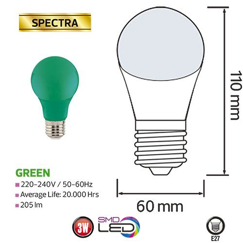 SPECTRA 3W Grün E27 LED Farbige Leuchtmittel