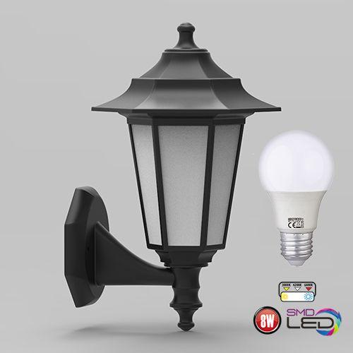 Kopie von Begonya-2 Außenlampe Wandleuchte Gartenlampe SCHWARZ