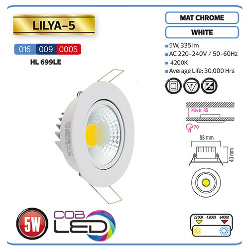 LILYA-5 WEISS 4200K LED DOWNLIGHT