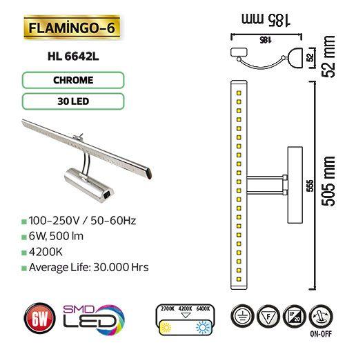 FLAMINGO-6 6W 4200K LED Spiegelleuchte Badleuchte Schranklampe Bilderlampe Wandleuchte