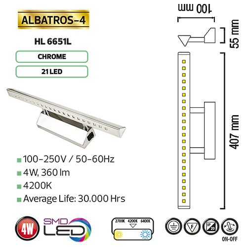 ALBATROS-4 4W CHRM 4200K 100-250V LED Bilder Spiegel Lampe Leuchte