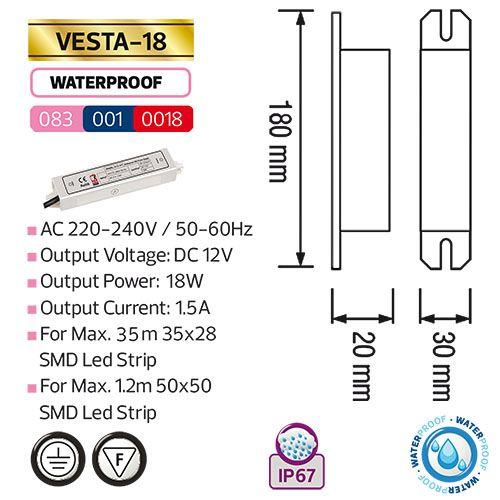 VESTA-18 18W 1.5A Feuchtraum LED Trafo