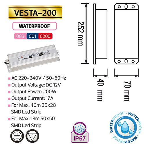VESTA-200 200W 17A Feuchtraum LED Trafo