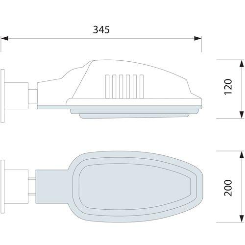 HL190 60W WEISS E27 220-240V STRASSEN LAMPE + 8W LED Kaltweiss