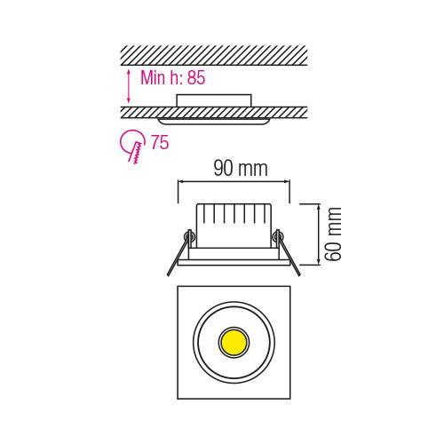 MELISA-3 3W Matt Chrom 6500K COB LED EINBAUSPOT