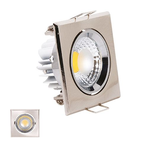 HL678L 3W MATT-CHROM  2700K WARMWEISS COB LED EINBAUSPOT