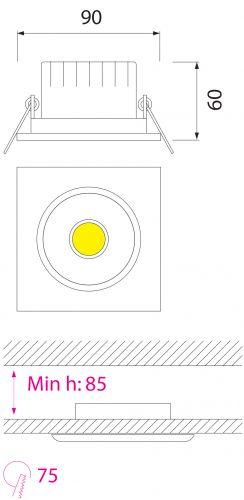 HL678L 3W MATT-CHROM 6500K COB LED EINBAUSPOT