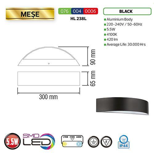 MESE 5,5W 4100K Schwarz LED Gartenlampe Außenleuchte