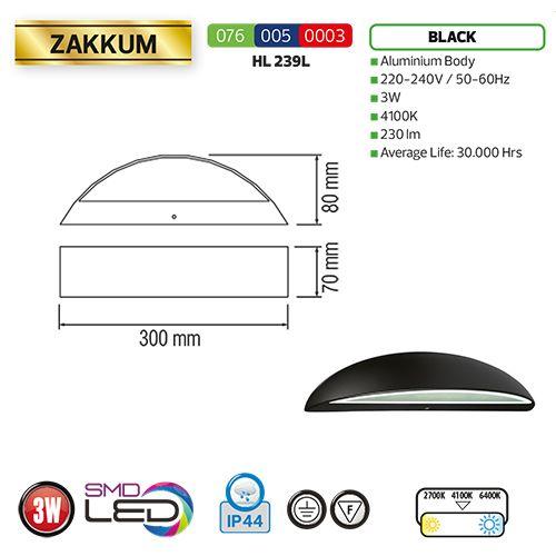 HL239L 3W 4100K Schwarz LED Gartenlampe Außenleuchte