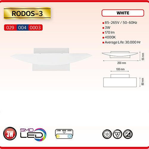 RODOS-3 LED Designer Wandleuchte 3W Weiss 4000K