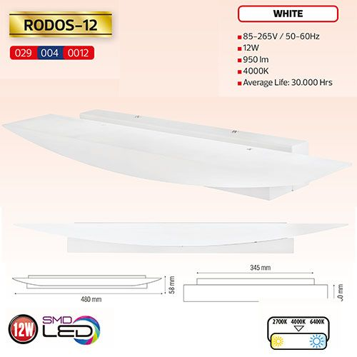 RODOS-12 LED Designer Wandleuchte 12W Weiss 4000K