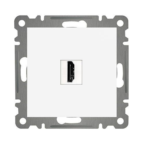 HDMI DOSE EIN UND AUSGANG ( Einsatz + Deckel ) LUNIS Alpinweiss