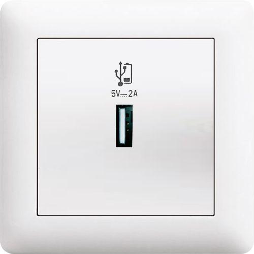 USB DOSE LADEGERÄT ( Einsatz + Deckel ) LUNIS Alpinweiss